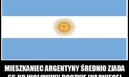 Ile w Argentynie zjada się rocznie wołowiny?