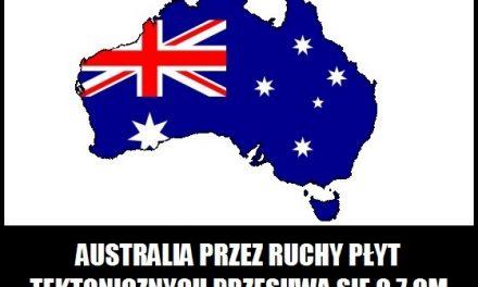 O ile cm rocznie przesuwa się Australia?