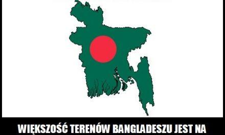 Na jakiej wysokości jest większość terenów Bangladeszu?