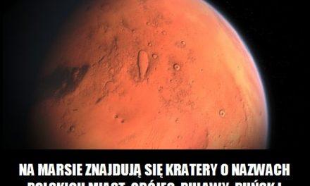 Nazwami których polskich miast nazwano kratery Marsa?