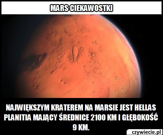 Jaką średnicę ma największy krater na Marsie?