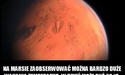 Jakie wahania temperatury występują na Marsie?