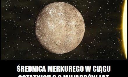 O ile km zmniejszyła się średnica Merkurego w ciągu ostatnich 3,8 miliardów lat?