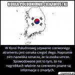 Używanie jakiego koloru atramentu w Korei Południowej jest oznaką czegoś złego?