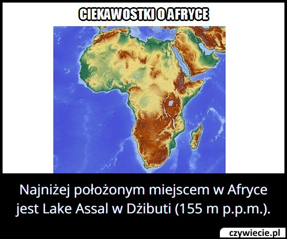 W którym kraju   znajduje się najniżej położone miejsce w Afryce?