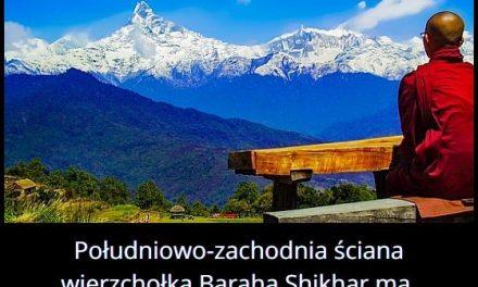 Jaką wysokość ma południowo-zachodnia ściana wierzchołka Baraha Shikhar?