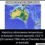Jaką najniższą   temperaturę odnotowana w Australii i Oceanii?