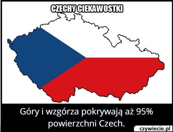 Ile procent   powierzchni Czech zajmują góry i wzgórza?