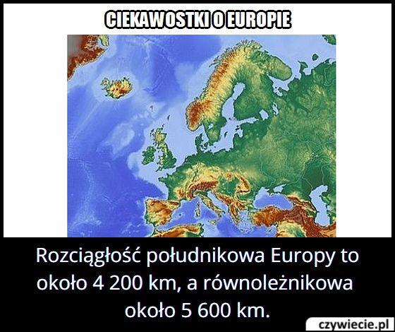 Jaką długość i szerokość ma Europa?