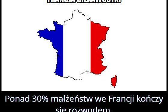Jaki procent małżeństw we Francji kończy się rozwodem?