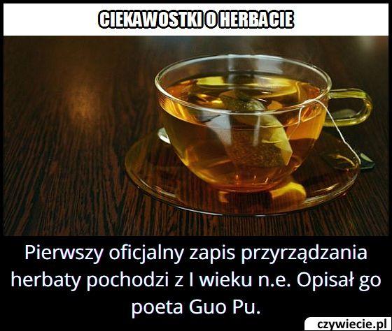 Z którego roku   pochodzi pierwszy zapis przyrządzania herbaty?