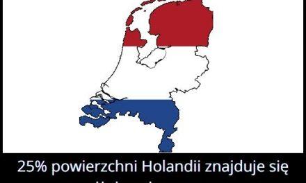 Jaki procent powierzchni Holandii znajduje się poniżej poziomu morza?