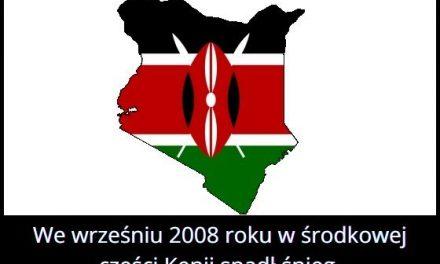 W którym roku w środkowej części Kenii spadł śnieg?