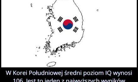 Jaki jest   średni poziom IQ w Korei Południowej?