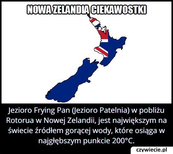 Jaką maksymalną temperaturę osiąga woda w jeziorze Frying Pan w Nowej Zelandii?