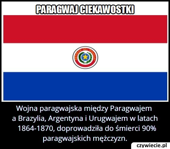 Która wojna   doprowadziła do śmierci 90% paragwajskich mężczyzn?