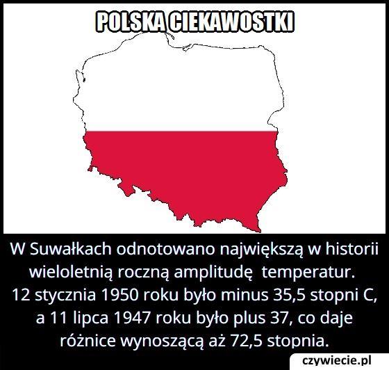 Ile wynosiła   największa wieloletnia roczna amplituda temperatur w Polsce?