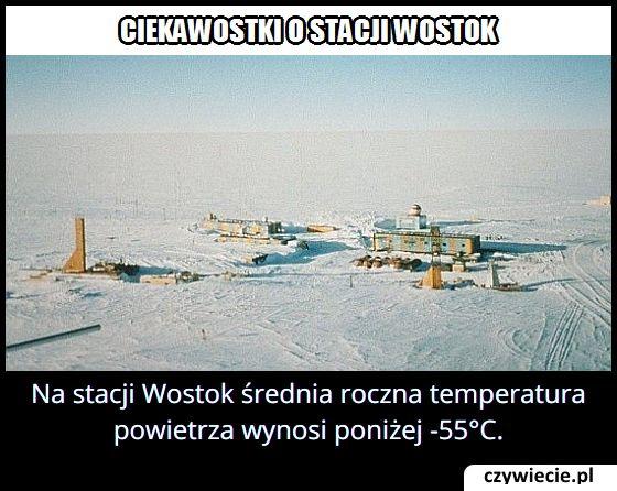 Jaka jest   średnia roczna temperatura powietrza na stacji Wostok?
