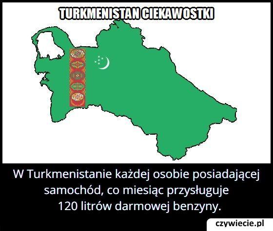 W Turkmenistanie każdej osobie posiadającej samochód, co miesiąc przysługuje…