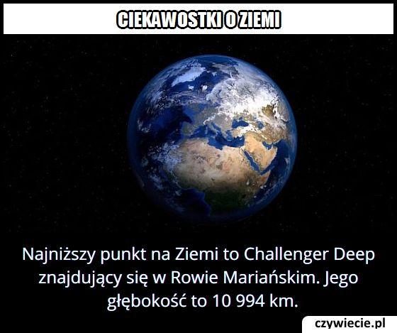 Jaką głębokość   ma najniżej położony punkt na Ziemi?